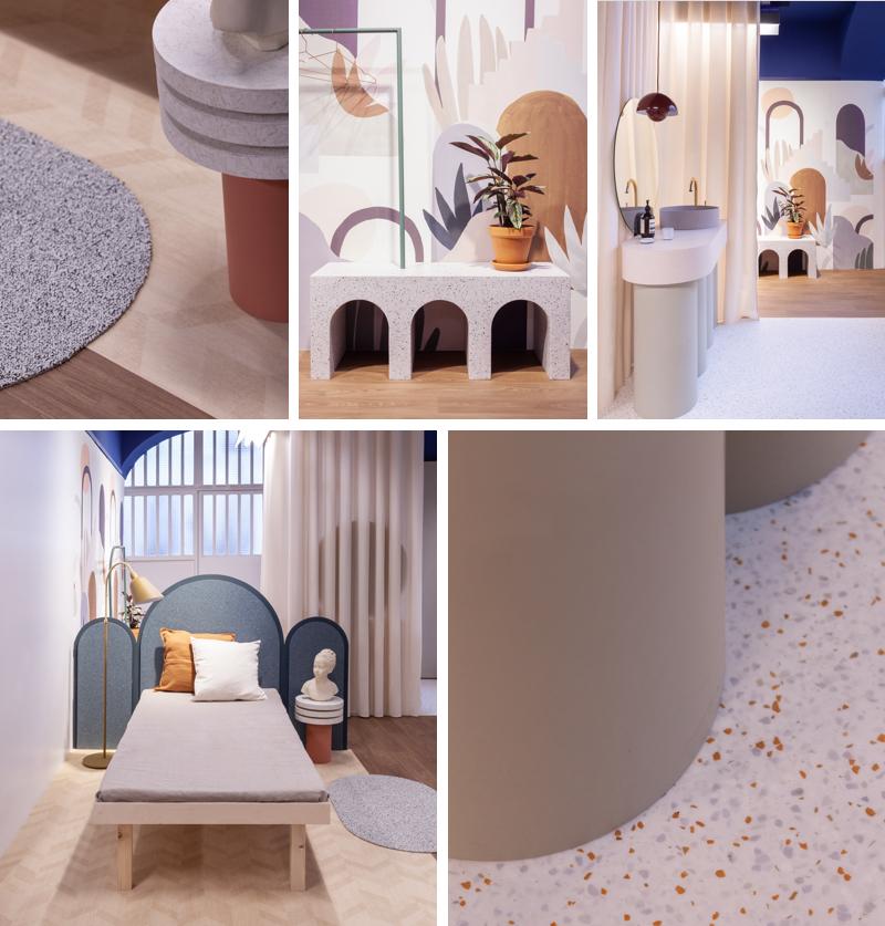 exposition évoquant l'habitat à l'Atelier Tarkett, en partenariat avec le studio Heju.